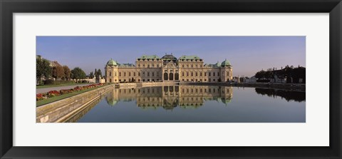 Framed Austria, Vienna, Belvedere Palace, View of a manmade lake outside a vintage building Print