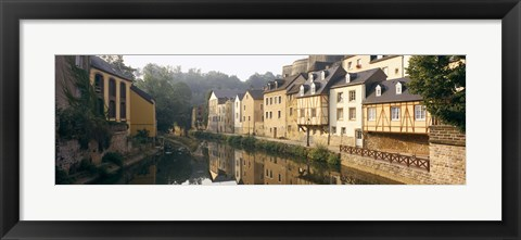 Framed Buildings along a river, Alzette River, Luxembourg City, Luxembourg Print