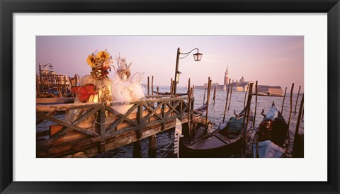 Framed Italy, Venice, St Mark's Basin, people dressed for masquerade Print