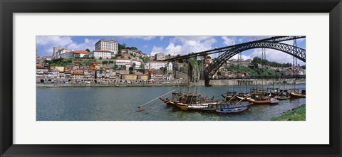 Framed Bridge Over A River, Dom Luis I Bridge, Douro River, Porto, Douro Litoral, Portugal Print