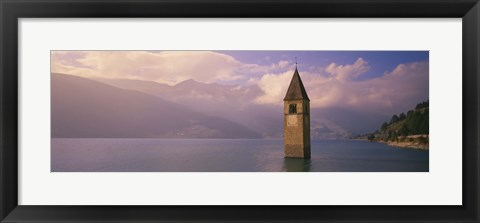Framed Clock tower in a lake, Reschensee, Italy Print