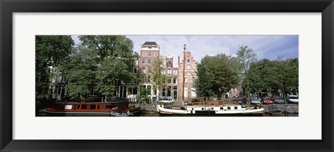 Framed Netherlands, Amsterdam, Boats in canal Print