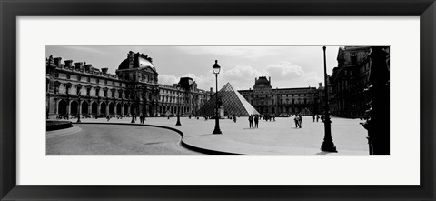 Framed Louvre Museum, Paris, France (black and white) Print