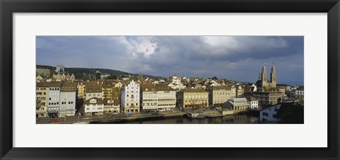 Framed High Angle View Of A City, Grossmunster Cathedral, Zurich, Switzerland Print