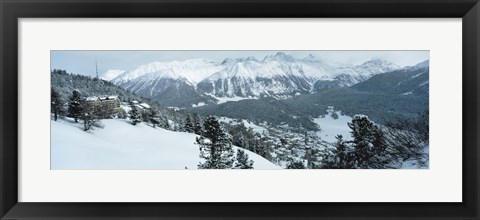 Framed Winter, St Moritz, Switzerland Print
