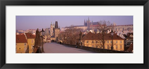 Framed View Of Houses Along The Charles Bridge, Prague, Czech Republic Print