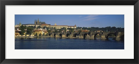 Framed Bridge across a river, Charles Bridge, Vltava River, Prague, Czech Republic Print