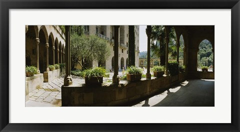 Framed Porch of a building, Montserrat, Barcelona, Catalonia, Spain Print