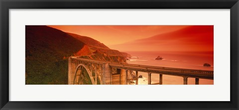Framed High angle view of an arch bridge, Bixby Bridge, Big Sur, California, USA Print