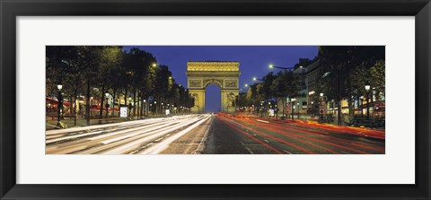 Framed View Of Traffic On An Urban Street, Champs Elysees, Arc De Triomphe, Paris, France Print