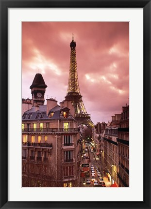 Framed Paris Street Scene with Eiffel Tower and Red Sky Print