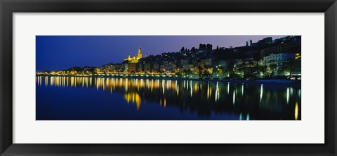 Framed Reflection of buildings in water, Menton, Alpes-Maritimes, Provence-Alpes-Cote d'Azur, France Print