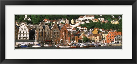 Framed Boats on the Water, Bergen, Norway Print