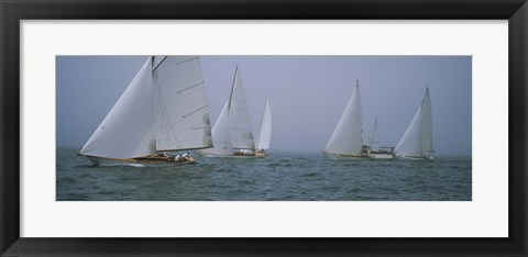 Framed Sailboats at regatta, Newport, Rhode Island, USA Print