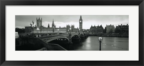 Framed Bridge across a river, Westminster Bridge, Houses Of Parliament, Big Ben, London, England Print