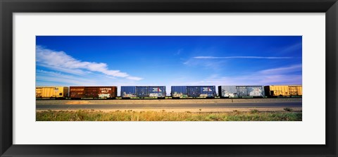 Framed Boxcars Railroad CA Print