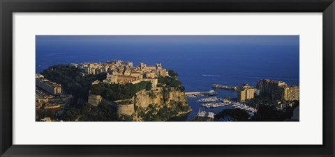 Framed High Angle View Of A City At The Waterfront, Monte Carlo, Monaco Print
