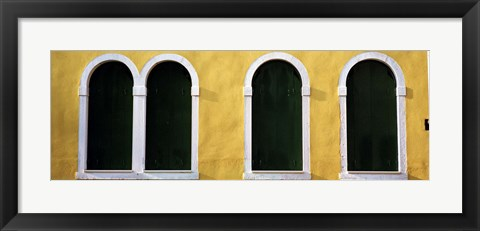 Framed Windows in Yellow Wall Venice Italy Print