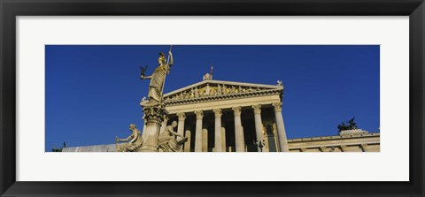 Framed Fountain in front of a government building, Pallas Athena Fountain, Parliament Building, Vienna, Austria Print