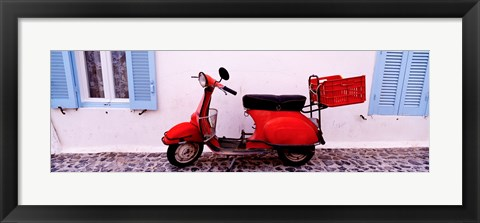 Framed Motor scooter parked in front of a building, Santorini, Cyclades Islands, Greece Print