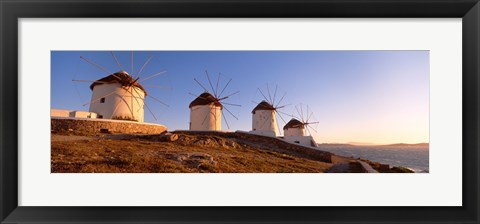 Framed Low angle view of traditional windmills, Mykonos, Cyclades Islands, Greece Print