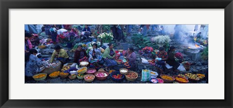 Framed High Angle View Of A Group Of People In A Vegetable Market, Solola, Guatemala Print