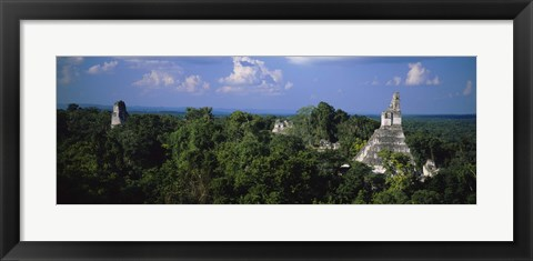 Framed High Angle View Of An Old Temple, Tikal, Guatemala Print