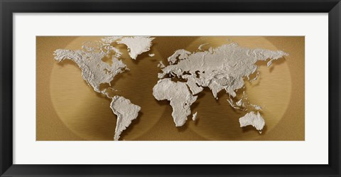 Framed Close-up of a World Map (gold) Print