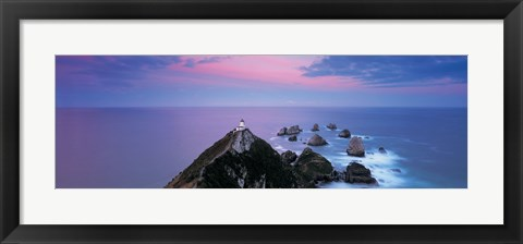 Framed High angle view of a lighthouse, Nugget Point, The Catlins, South Island New Zealand, New Zealand Print