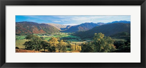 Framed High angle view of trees on the mountainside, Borrowdale, Lake District, England Print