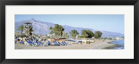 Framed Tourists On The Beach, San Pedro, Costa Del Sol, Marbella, Andalusia, Spain Print