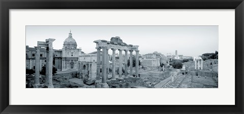 Framed Ruins Of An Old Building, Rome, Italy (black and white) Print