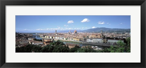Framed High angle view of a city, Florence, Tuscany, Italy Print