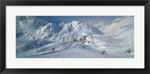 Framed Rear view of a person skiing in snow, St. Christoph, Austria Print