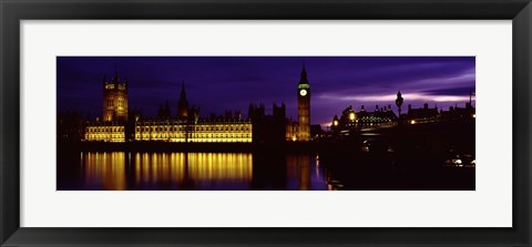 Framed Government Building Lit Up At Night, Big Ben And The House Of Parliament, London, England, United Kingdom Print
