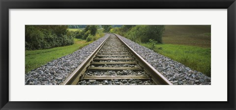 Framed Railroad track passing through a landscape, Germany Print