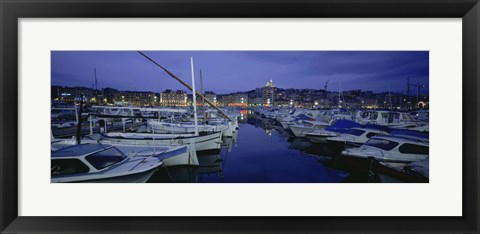 Framed Boats docked at a port, Old Port, Marseille, Bouches-Du-Rhone, Provence-Alpes-Cote Daze, France Print