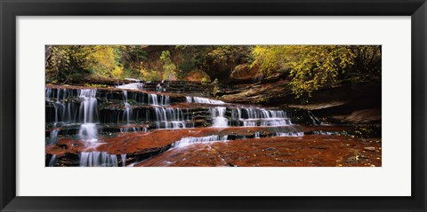 Framed Waterfall in a forest, North Creek, Zion National Park, Utah, USA Print