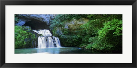 Framed Waterfall in a forest, Lison River, Jura, France Print