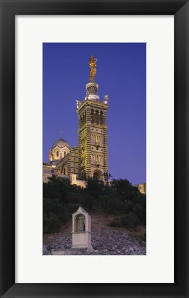 Framed Low angle view of a tower of a church, Notre Dame De La Garde, Marseille, France Print