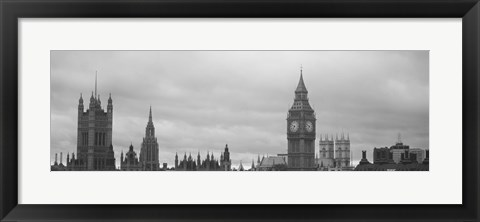 Framed Buildings in a city, Big Ben, Houses Of Parliament, Westminster, London, England (black and white) Print