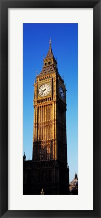Framed Low angle view of a clock tower, Big Ben, Houses of Parliament, London, England Print