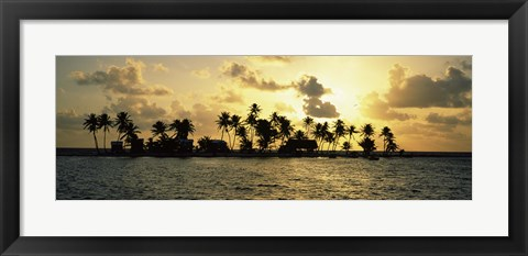 Framed Silhouette of palm trees on an island at sunset, Laughing Bird Caye, Victoria Channel, Belize Print