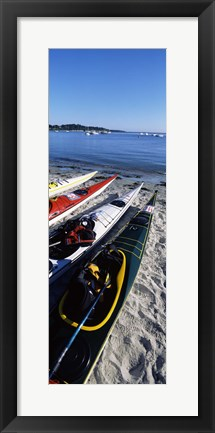 Framed Kayaks on the beach, Third Beach, Sakonnet River, Middletown, Newport County, Rhode Island (vertical) Print