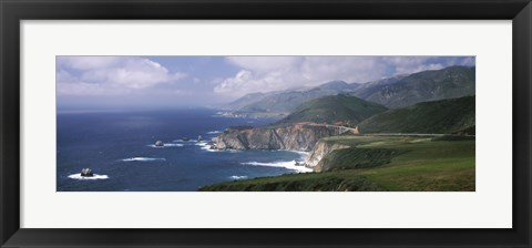 Framed Rock formations on the beach, Bixby Bridge, Pacific Coast Highway, Big Sur, California, USA Print