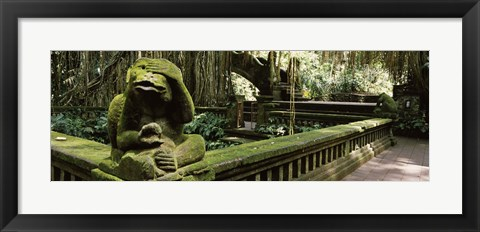 Framed Statue of a monkey in a temple, Bathing Temple, Ubud Monkey Forest, Ubud, Bali, Indonesia Print