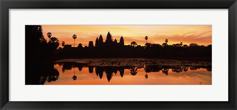 Framed Silhouette of a temple, Angkor Wat, Angkor, Cambodia Print