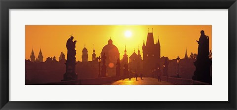 Framed Sunset over Charles Bridge, Prague, Czech Republic Print