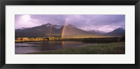 Framed Double rainbow over mountain range, Alberta, Canada Print