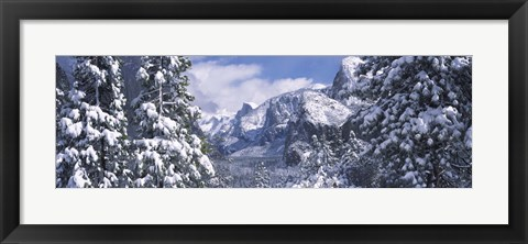Framed Mountains and waterfall in snow, Tunnel View, El Capitan, Half Dome, Bridal Veil, Yosemite National Park, California Print